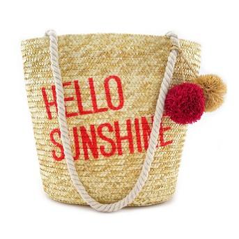 Junk Food Women's Mickey Mouse Hello Sunshine Straw Tote Handbag
