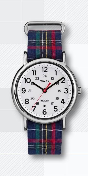 Timex Weekender™  Slip Thru Plaid Nylon Strap Watch - Blue TW2R10900JT