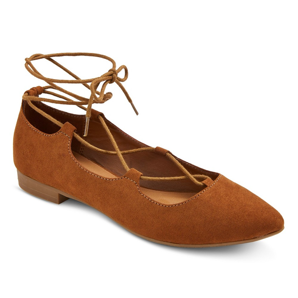 Womens Kady Pointed Toe Lace Up Ballet Flats - Mossimo Supply Co. Cognac (Red) 9
