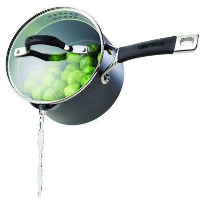 Circulon Momentum 2 Quart Hard-Anodized Non-stick Covered Straining Saucepan with Pour Spouts - Gray