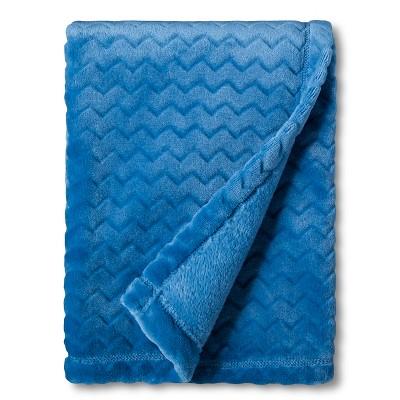 Circo™ Soft Fleece Embossed Baby Blanket - Blue Chevron