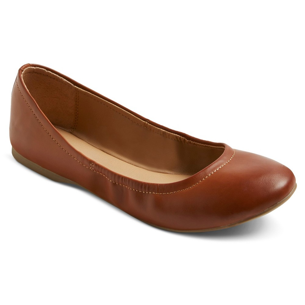Womens Ona Wide Width Ballet Flats - Mossimo Supply Co. Cognac (Red) 5.5W, Size: 5.5 Wide