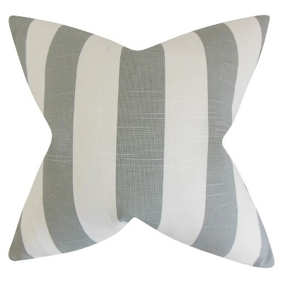 Wide Stripe Throw Pillow Gray (20 x20 )- The Pillow Collection