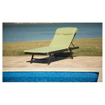 Hanover Outdoor Chaise Lounge Chair With Cushion   French Toast/Avocado  Patio Chaise Lounge Chair