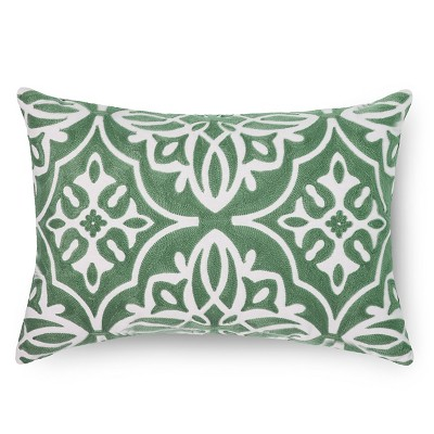 Green Embroidered Medallion Lumbar Throw Pillow - Threshold™
