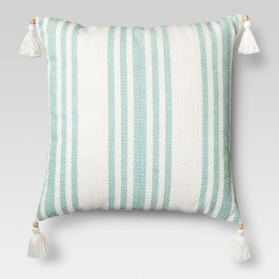 Aquarius Blue Woven Stripe Throw Pillow - Threshold™