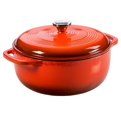 Lodge Cast Iron Enamel Dutch Oven 6 Quart Red Poppy
