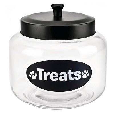 Housewares International 108 Oz Glass  Treats  Pet Jar with Black Lid