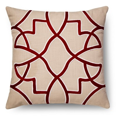 Red Embroidered Fretwork Throw Pillow - Threshold™