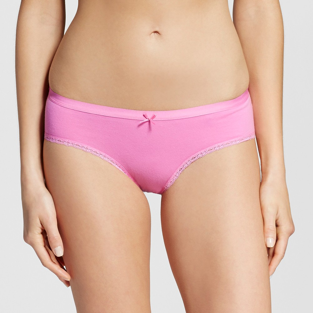 Womens Cotton with Lace Hipster - Xhilaration Bashful Pink L