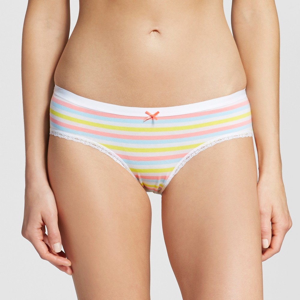 Womens Cotton with Lace Hipster - Xhilaration Soft Stripe M, Multi-Colored
