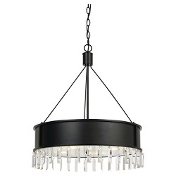 Cal Lighting Roby Metal Chandelier with Crystal Drops - Iron