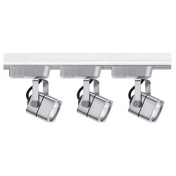 Cal Lighting Track Lighting Set with 3 Track Heads - Brushed Steel
