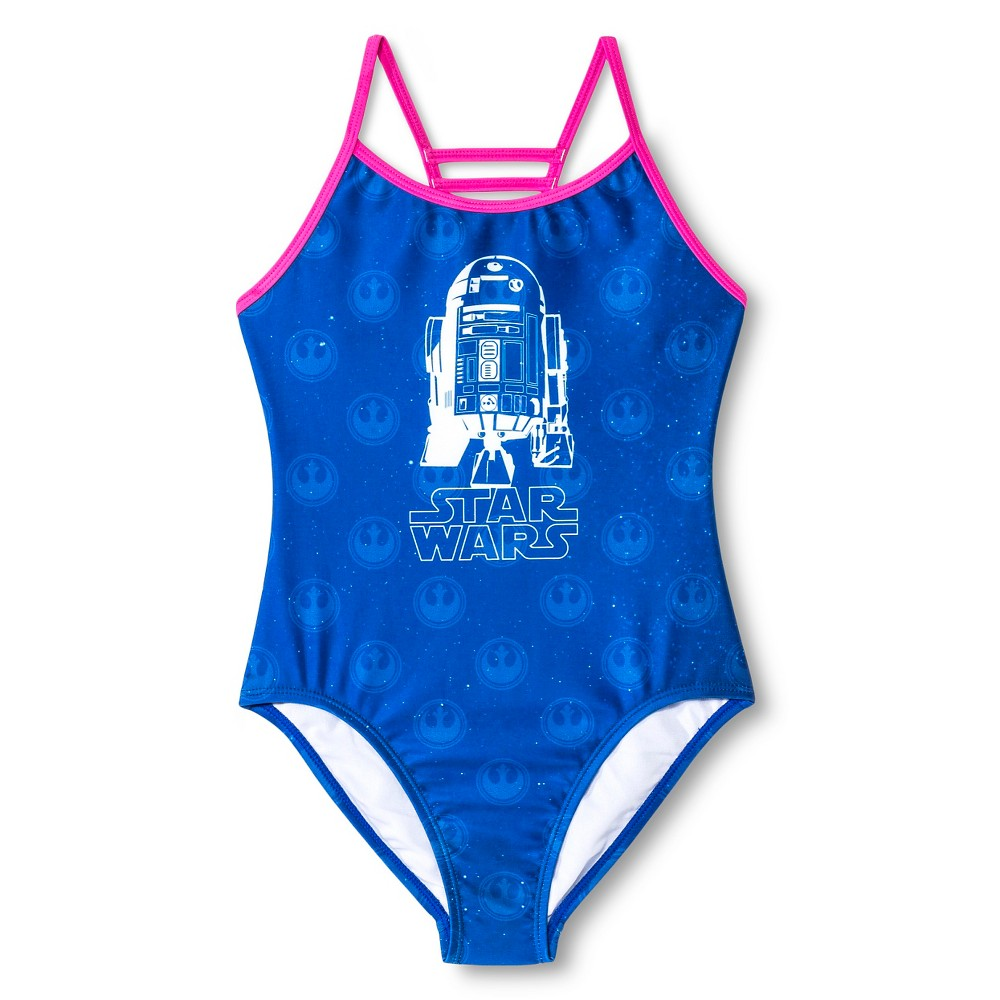 Girls Star Wars R2D2 1pc Swimsuit - Blue XS, Purple