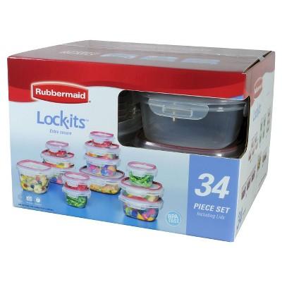 rubbermaid lockits food storage container set 34piece