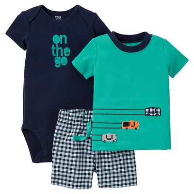 Just One You™ Made by Carter's® Baby Boys' 3pc Gingham Set - Teal/Navy 3M