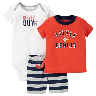 Just One You™ Made by Carter's® Baby Boys' 3pc Little Genius Set - Orange/White/Navy 3M
