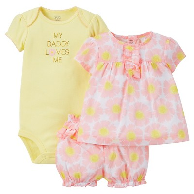 Just One You™ Made by Carter's® Baby Girls' 3pc Floral Daddy Loves Me Set - Pink/Yellow 3M