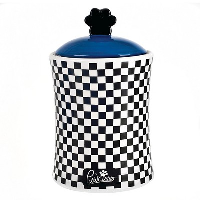 Housewares International 10  Pawcasso Pet Jar with Black and White Checkered design