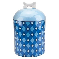 """Housewares International 10"""" AKC Pet Canister with Blue Plaid and Logo and Blue with White Bone Lid"""