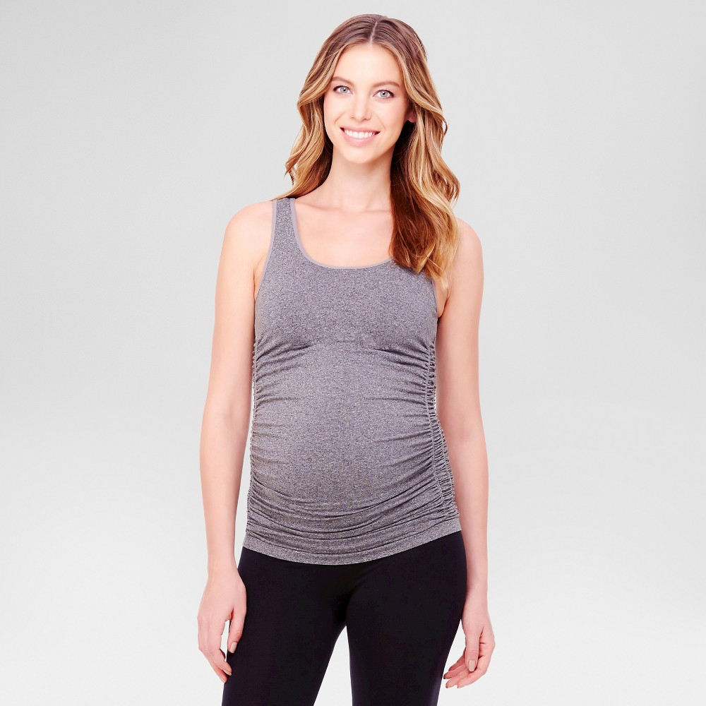 BeMaternity by Ingrid & Isabel – Seamless Ruched Tank Top Dark Gray – M/L, Women's