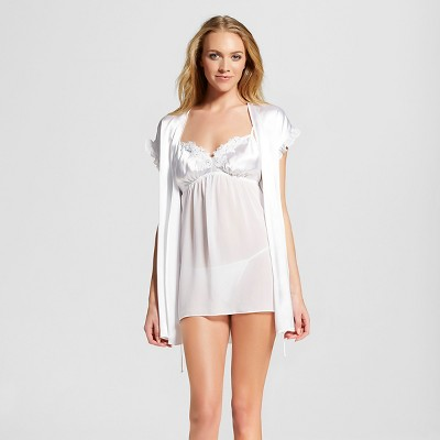 Women's Bridal Babydoll with Robe White M - Gilligan & O'Malley™ 3 piece set