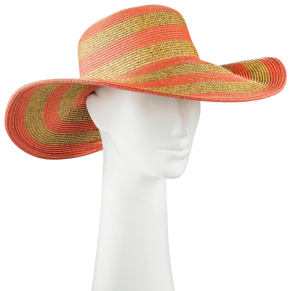 Womens Floppy Hat Tan and Coral (Pink) Stripe - Merona