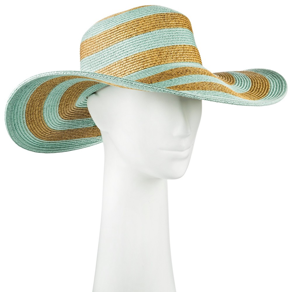Womens Floppy Hat Tan and Mint Stripe - Merona, Mint Green