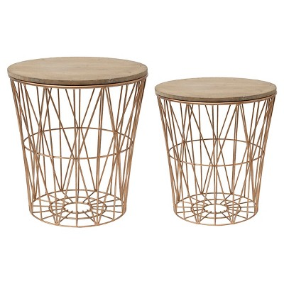Metal Baskets with Wood Lid (20-1/8 H )