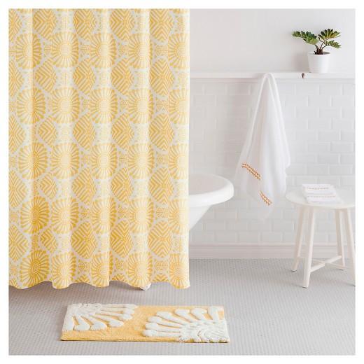 Shower Curtain Sabrina Soto Medallion White Yellow : Target