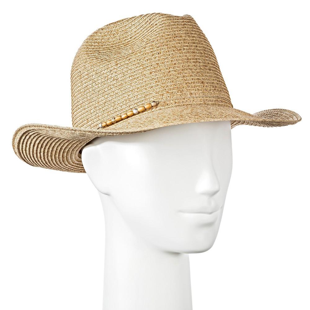 Womens Panama Hat with Wood Beads - Tan - Merona, Lt Tan