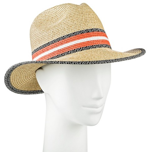 Women's Panama Hat Black White and Coral - Merona™ - image 1 of 1