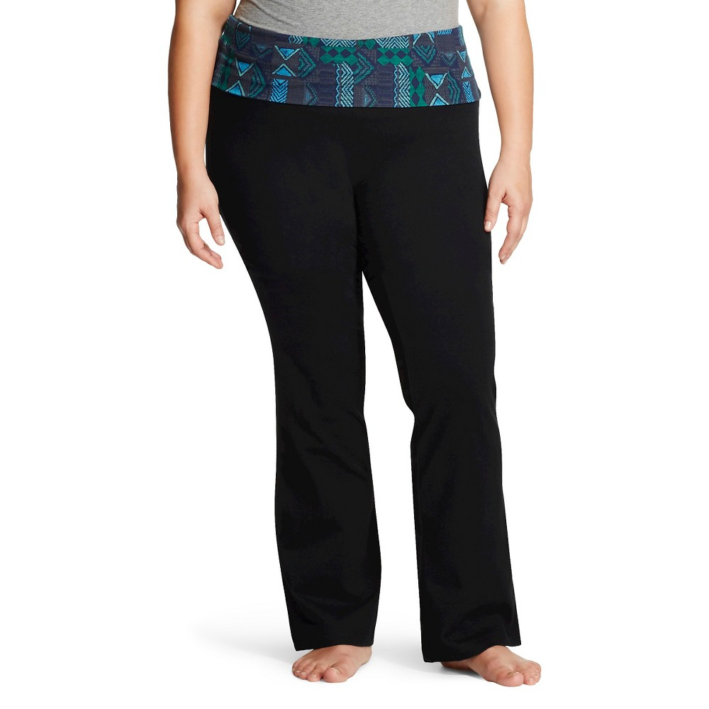 Women's Plus Size Bootcut Yoga Pant Blue Tribal Print 4X - Mossimo Supply Co.(Juniors')