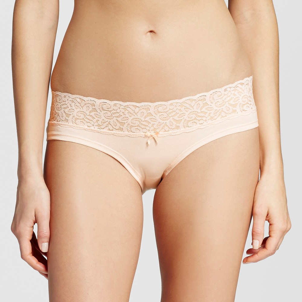 Womens Wide Lace Cotton Hipster - Xhilaration Feather Peach XL