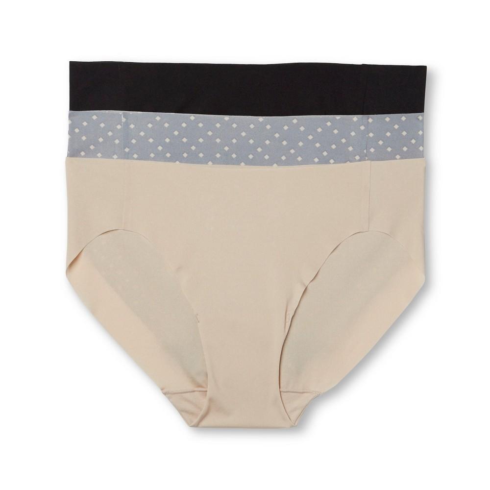 Hanes Premium Womens No Lines Microfiber Bikini 3-Pack - Multi-Colored 7, Multicolored