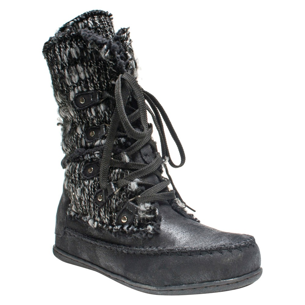 Womens Muk Luks Lilly Lace Up Shearling Boots - Black 7, Variation Parent Black