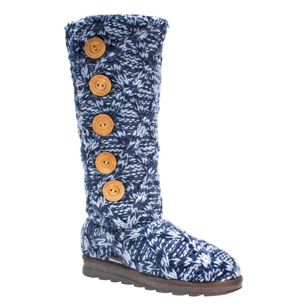 Womens Muk Luks Malena Shearling Boots - Navy (Blue) 10