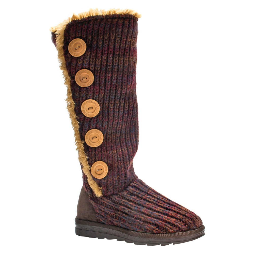 Womens Muk Luks Malena Crochet Button Up Boots - Dark Red 7