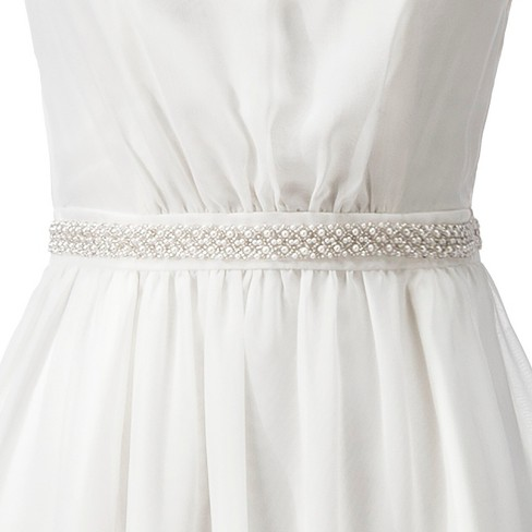 Women's Organza Bridal Sash with Pearl and Bead Detail - Tevolio™ - image 1 of 4