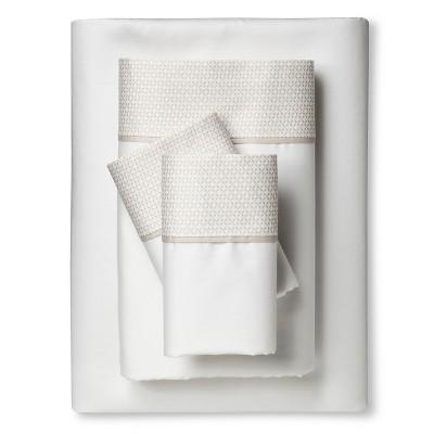 Performance Sheet Set - Brown Linen Hem (Queen)- Threshold™