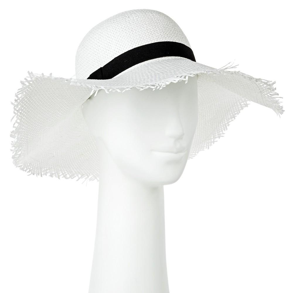 Women's Floppy Straw Hat with Frayed Edge - White - Merona