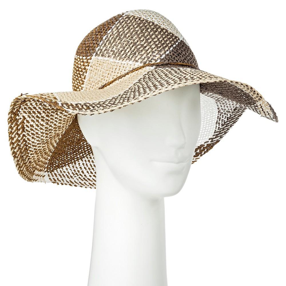 Womens Floppy Hat Tan Plaid - Merona, Natural