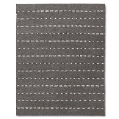 Gray Striped Felt Area Rug - (5'x7')
