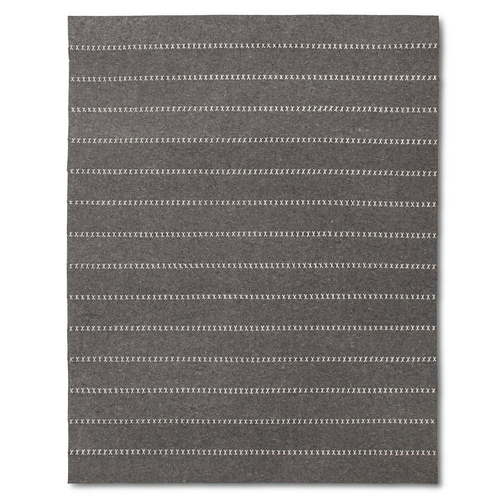 Gray Striped Felt Area Rug – (8'x10′)