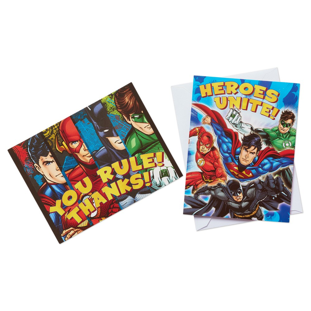 16 ct Justice League Invitation and Thank You Card Pack