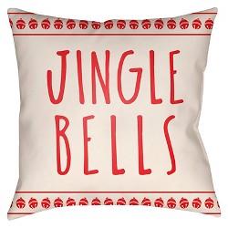 """Red Jingle Throw Pillow 18""""x18""""- Surya"""