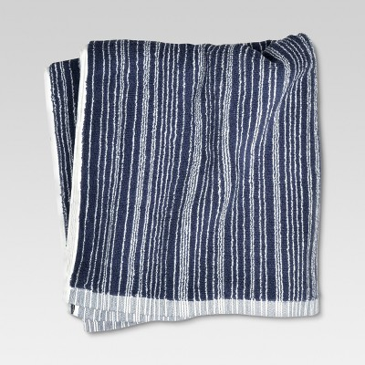 Bath Towel Abstract Blue Stripe - Threshold™