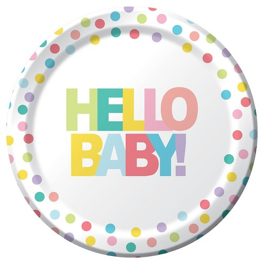 10ct dinner plate multicolored hello baby printed dinner plate