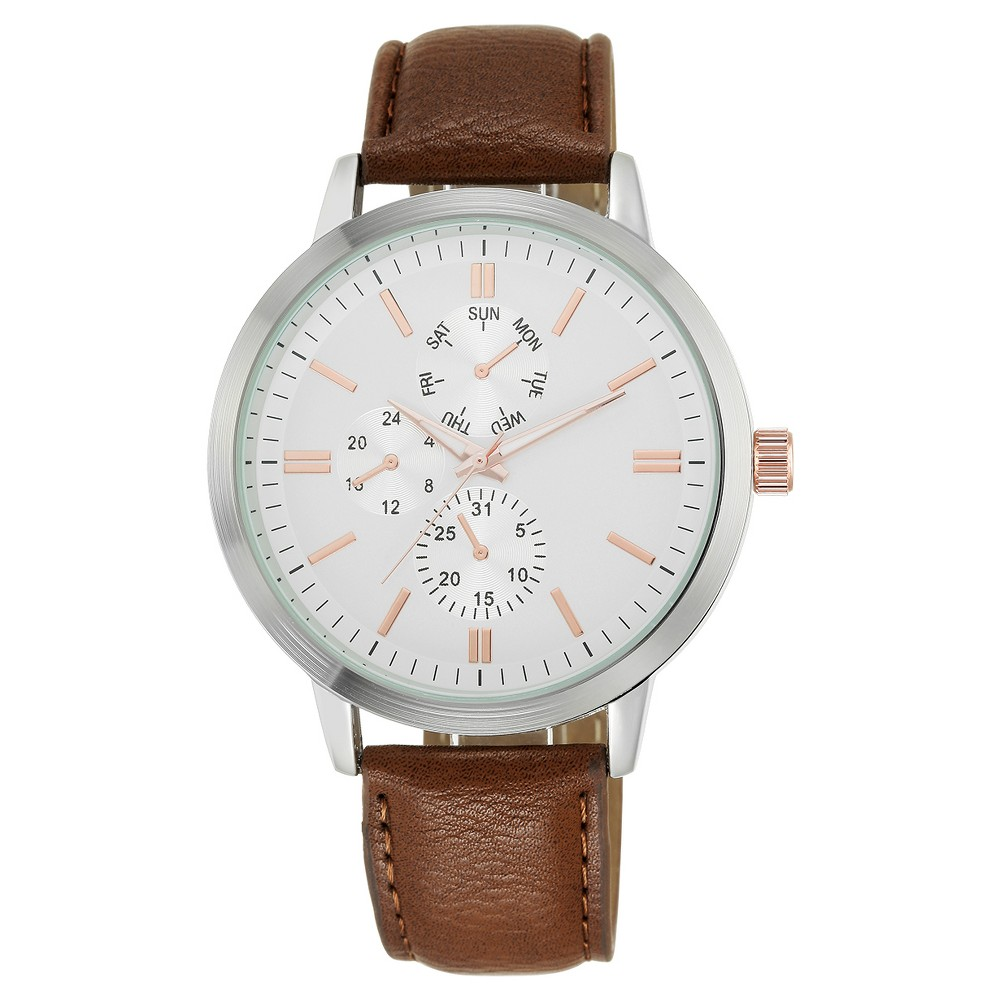 Mens Analog Strap Watch Silver/Brown - Mossimo
