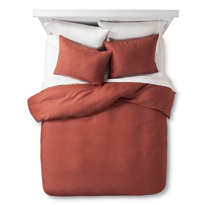 Rust Plain Edge Linen Duvet Cover Set (King)- 3-pc